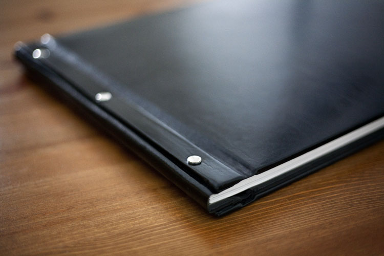 Wedding book with leather cover black
