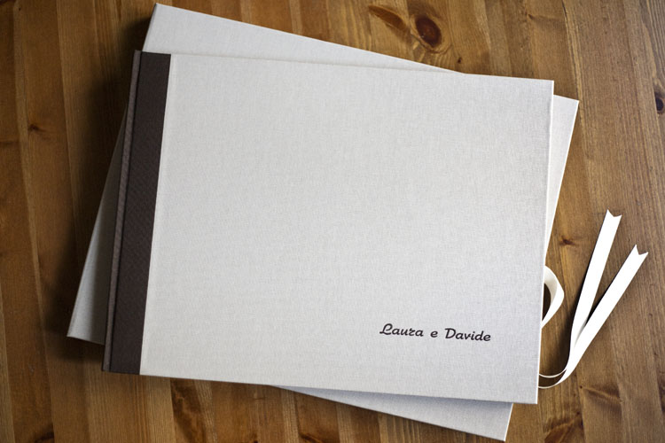 Fine Art Wedding Book coated in pure beige colored linen